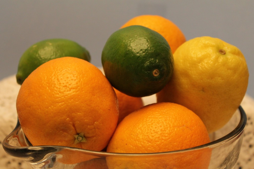 citrus in glass bowl