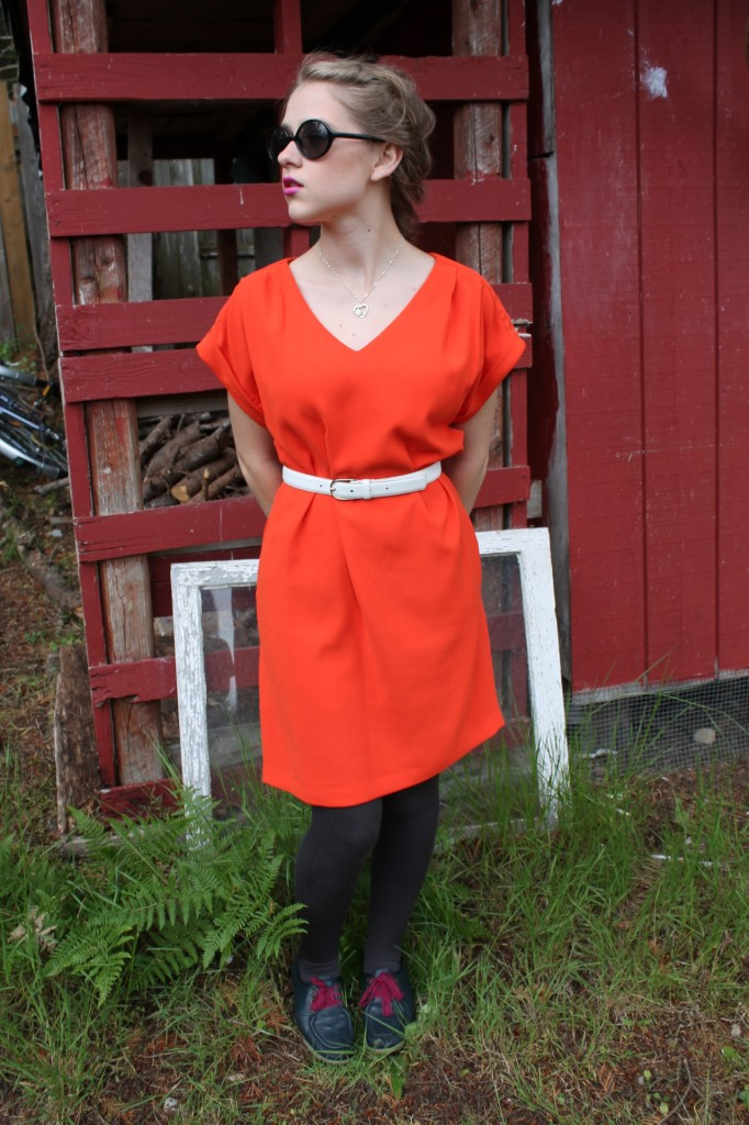 60s style shift orange dress (2)