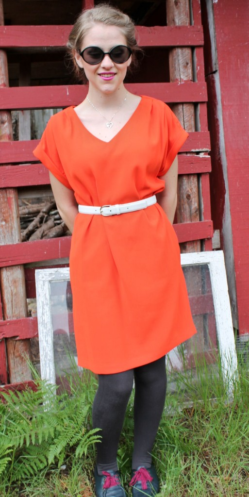 60s style shift orange dress (4)