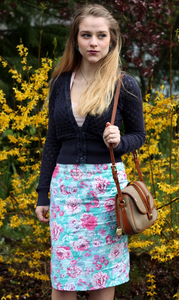 Spring Flowers Pencil Skirt Tabitha accessorized