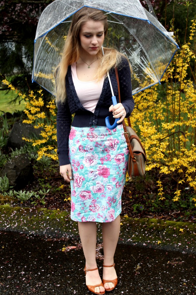Spring Flowers pencil skirt with umbrella