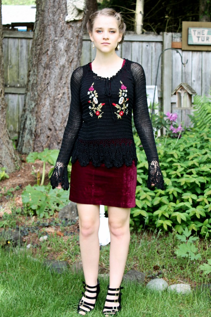 Thrifty Thursday Retro Magic black crochet top