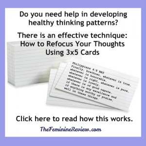 Developing Healthy Thinking Patterns 3x5 index cards