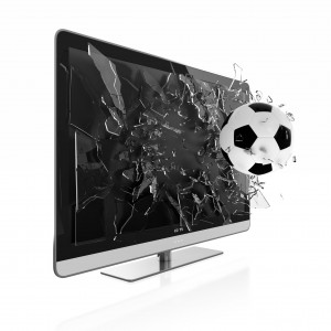 Soccer ball breaks television